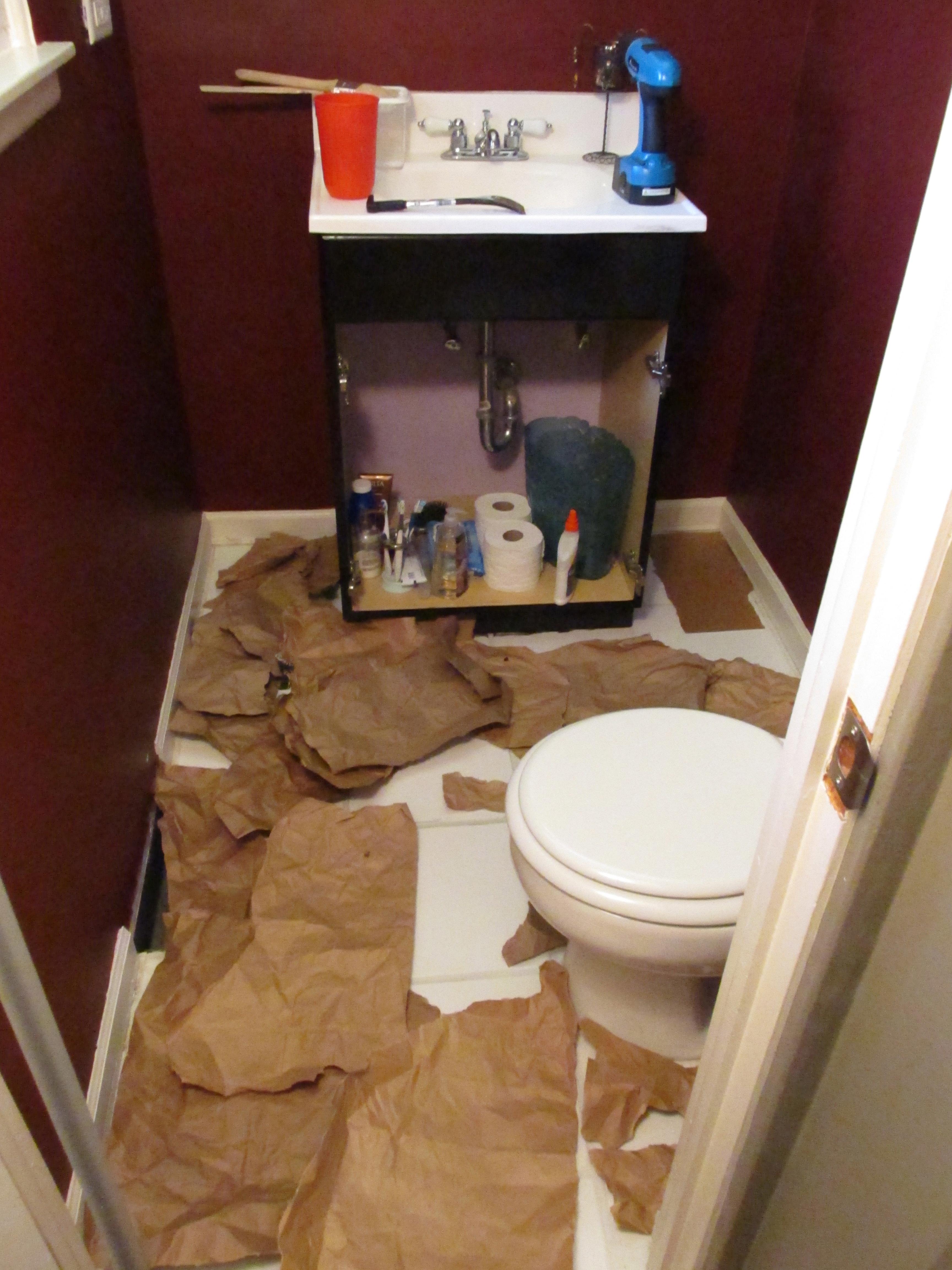 Guest Bathroom Paper Bag Floors Emodel Your Home